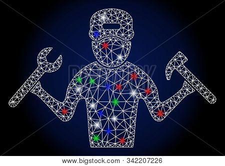 Glowing White Mesh Mechanic Boy With Lightspot Effect. Abstract Illuminated Model Of Mechanic Boy. S