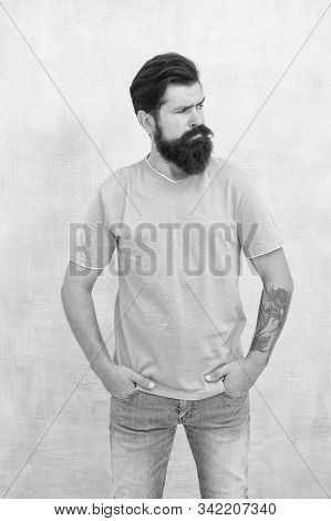 Pure Brutal. Hipster Wear Long Beard And Mustache In Brutal Style. Bearded Man With Brutal Look. Bru