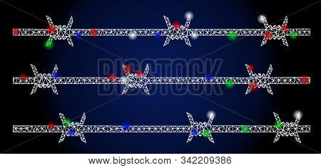 Glowing White Mesh Barbwire Fence With Sparkle Effect. Abstract Illuminated Model Of Barbwire Fence.
