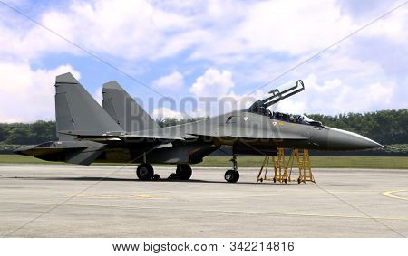 Russian Jet Fighter On Airfield On Stanby Before Take Off