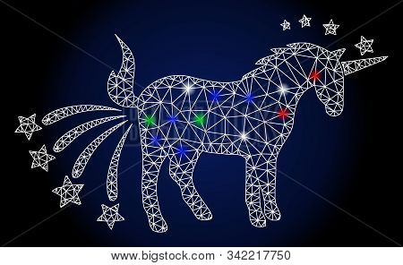 Glowing White Mesh Farting Unicorn With Lightspot Effect. Abstract Illuminated Model Of Farting Unic