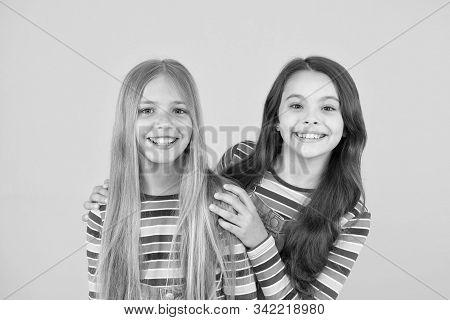 Long Hair Best Female Adorn. Girls Blonde And Brunette Shiny Healthy Hair. Hair Strengthening. Grow