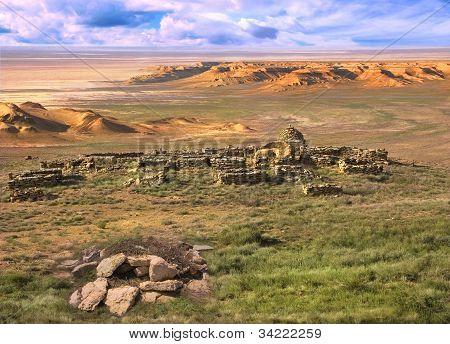 Ancient Muslim Cemetery In Plateau Ustyurt