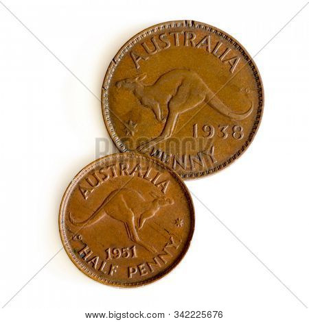 Old Australian Penny and Half Penny Isolated on White.