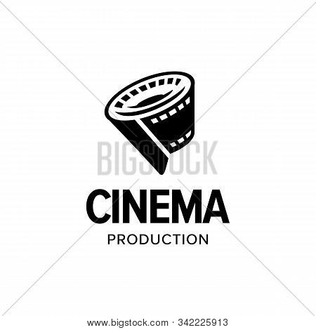 Film Strip Roll Logo Iconic. Branding For Website, Movie Maker, Movie Production, Videographer, Vide