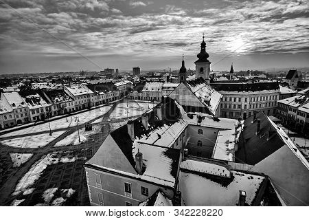 Sibiu Romania Transilvania At Sunset With Central Square Black And White Photography