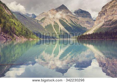 Beautiful Kinney Lake in Mount Robson Provincial Park, Canadian Rockies, British Columbia, Canada