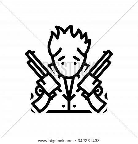 Black Line Icon For Perk Gun Thief Robber Outlaw Extortionist Hijacker Highwayman