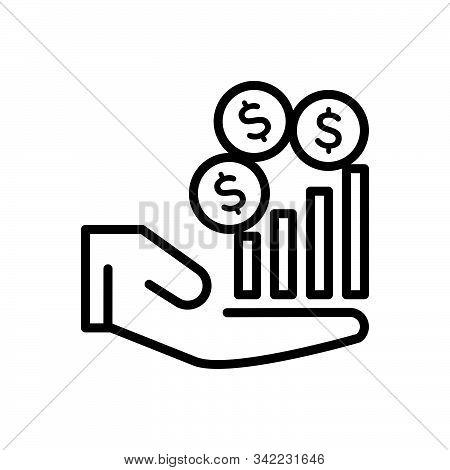 Black Line Icon For Revenue Income Revenues Finances Increase Salary