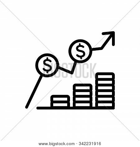 Black Line Icon For Cost Expense Expenditure Charge Earning Increase