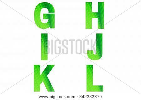 Green Font Alphabet G, H, I, J, K, L Made Of Natural Bananas Leaf Background.