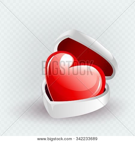 Light Illustration With A White Casket And Red Heart, Design Element