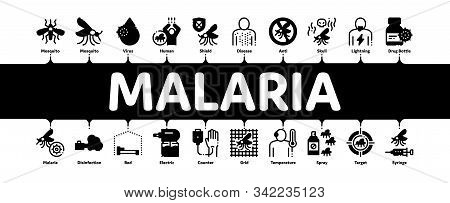 Malaria Illness Dengue Minimal Infographic Web Banner Vector. Malaria Mosquito, Spray And Protect Cr