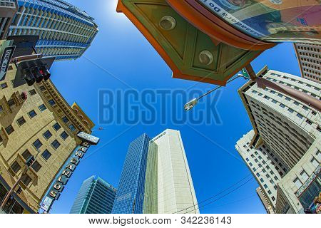 Phoenix, Usa - June 14: Perspective Of Skyscrapers Corner San Carlos Monroe Street On June 14,2012 I