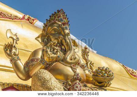 Chiang Mai, Thailand - Dec 26, 2019 : Beautiful Golden Ganesha At Wat Phra That Doi Kham Or Phra Tha