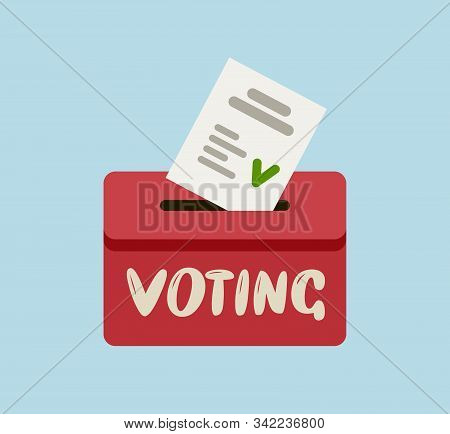 Voting Ballot In Ballot Box. Elections, Vote Vector Illustration