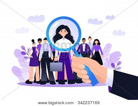 Recruitment Best Candidate Concept Landing Page. Hr Searching For New Candidate. Hand Hold Magnifier