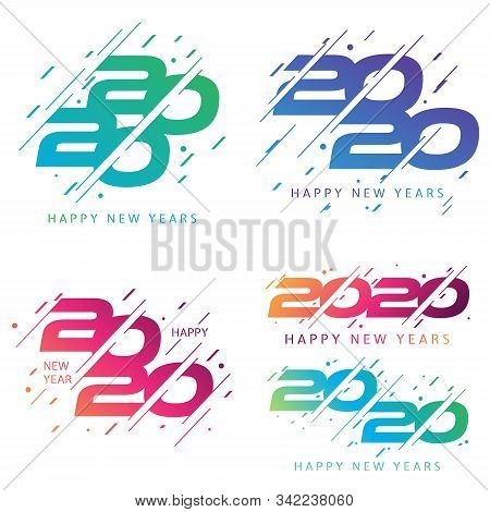 Set Of 2020 Colorful Text Isolated On Color Background, New Year 2020, 2020 Text For Calendar New Ye