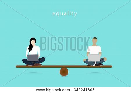 Gender Equality Concept. Woman And Man Vector Balancing On Scale. Equality Illustrator.