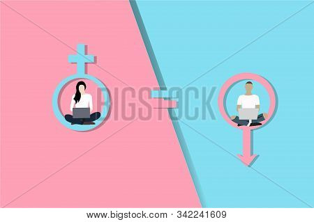 Gender Equality Concept. Woman And Man Vector On Pink And Blue Gender Logos. Equality Illustrator.