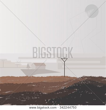 Brown Autumn Picture With Pillar, House, Fog, Dankness, Dampness, Dullness, Hopelessness, Gloom, Vec