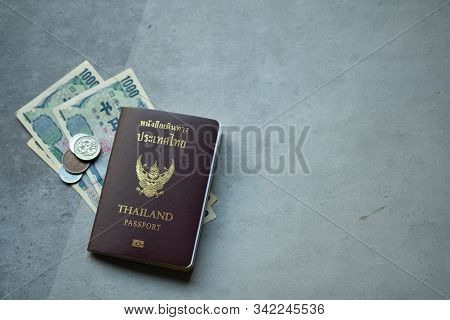 Thai Personal Passport And Yen Money For Tourist Go To Japan. Prepare Japanese Currency Yen Banknote