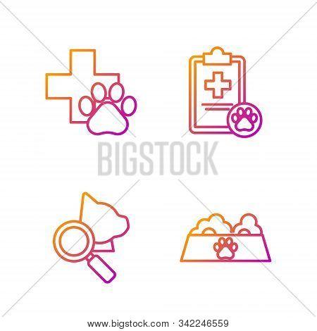 Set Line Pet Food Bowl For Cat Or Dog, Veterinary Clinic Symbol, Veterinary Clinic Symbol And Clipbo