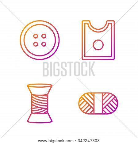 Set Line Sewing Thread On Spool, Sewing Thread On Spool, Sewing Button For Clothes And Sewing Patter