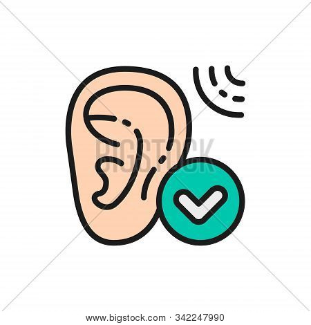 Good Hearing, Hearing Test Flat Color Line Icon. Isolated On White Background