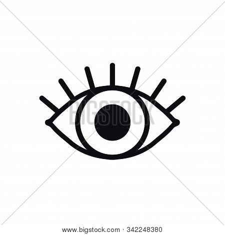 Open Eye Line Icon On White Background. Look, See, Sight, View Sign And Symbol. Vector Linear Graphi