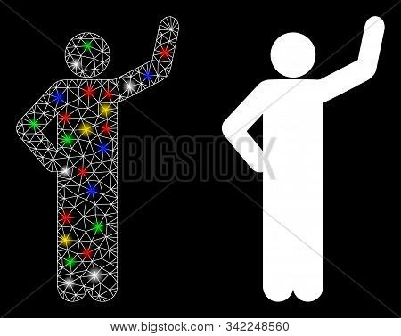 Glowing Mesh Assurance Pose Icon With Glare Effect. Abstract Illuminated Model Of Assurance Pose. Sh