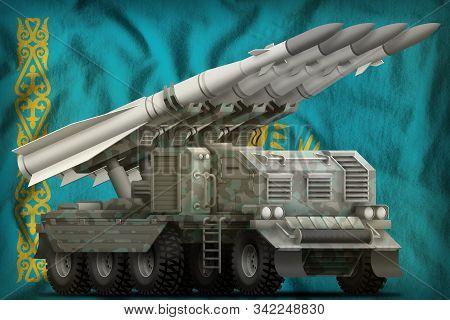 Tactical Short Range Ballistic Missile With Arctic Camouflage On The Kazakhstan Flag Background. 3d