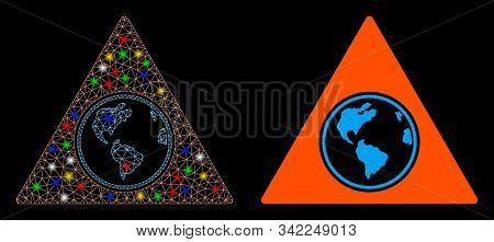 Glossy Mesh Terra Triangle Icon With Glare Effect. Abstract Illuminated Model Of Terra Triangle. Shi