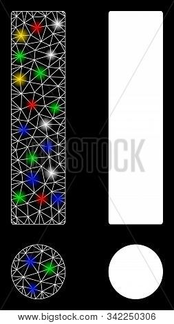 Glowing Mesh Exclamation Sign Icon With Glare Effect. Abstract Illuminated Model Of Exclamation Sign