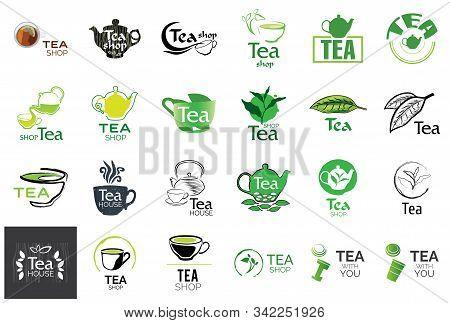 Vector Set Of Tea Shop And Cafe Logos