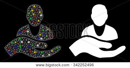 Glowing Mesh Client Care Hand Icon With Glitter Effect. Abstract Illuminated Model Of Client Care Ha