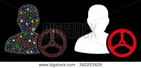 Flare Mesh Driver Person Icon With Sparkle Effect. Abstract Illuminated Model Of Driver Person. Shin