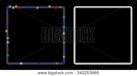 Bright Mesh Double Rounded Square Frame Icon With Sparkle Effect. Abstract Illuminated Model Of Doub