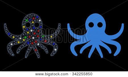 Flare Mesh Octopus Icon With Glitter Effect. Abstract Illuminated Model Of Octopus. Shiny Wire Frame
