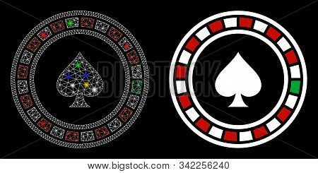 Glossy Mesh Casino Roulette Icon With Glow Effect. Abstract Illuminated Model Of Casino Roulette. Sh