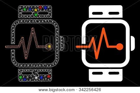 Flare Mesh Medical Watches Icon With Lightspot Effect. Abstract Illuminated Model Of Medical Watches