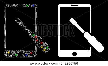 Glossy Mesh Smartphone Tuning Screwdriver Icon With Glare Effect. Abstract Illuminated Model Of Smar