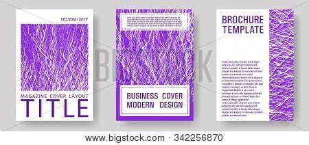 Annual Report Covers Design Set. Proton Purple Color Waves Textures. Liquid Rippling Motion Backgrou