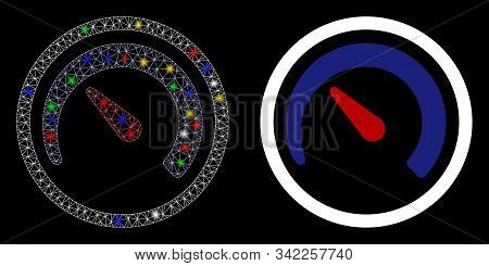 Glowing Mesh Speedometer Icon With Glow Effect. Abstract Illuminated Model Of Speedometer. Shiny Wir