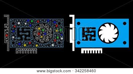 Flare Mesh Gpu Accelerator Card Icon With Glare Effect. Abstract Illuminated Model Of Gpu Accelerato