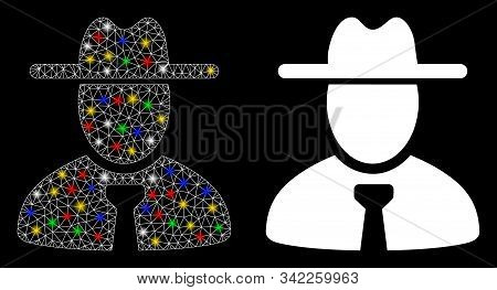 Glossy Mesh Gentleman Icon With Glare Effect. Abstract Illuminated Model Of Gentleman. Shiny Wire Ca
