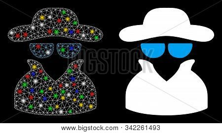 Flare Mesh Spy Icon With Glare Effect. Abstract Illuminated Model Of Spy. Shiny Wire Frame Triangula