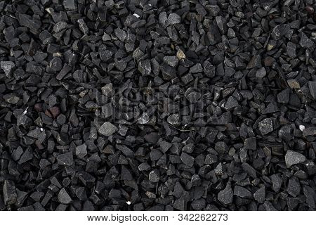 Crushed Gravel Texture Background, Background Made Of A Closeup Of A Pile Of Crushed Stone, Pile Of
