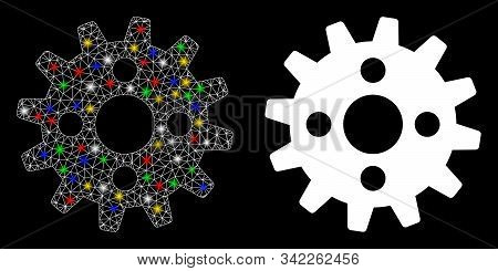 Glowing Mesh Cogwheel Icon With Glare Effect. Abstract Illuminated Model Of Cogwheel. Shiny Wire Fra