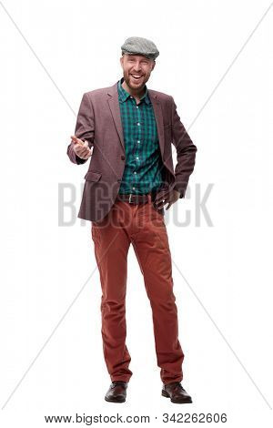 in full growth. dude in cap .isolated on white